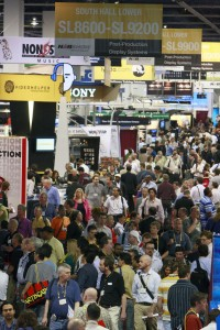 Crowded expo floor at NAB