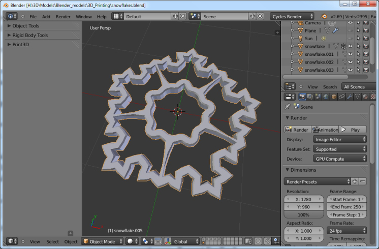 Add-On: Snowflake Fractal Generator - BlenderNation
