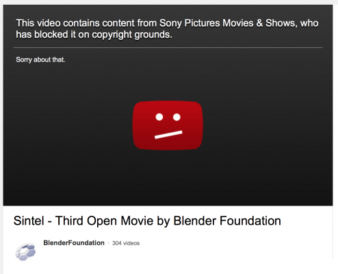 sony blocks sintel on youtube