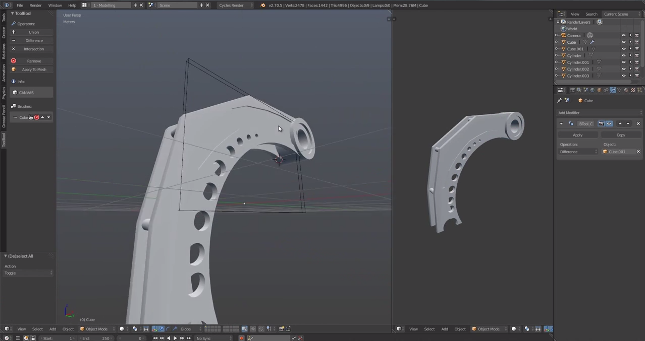 Add-on: BoolTool - BlenderNation