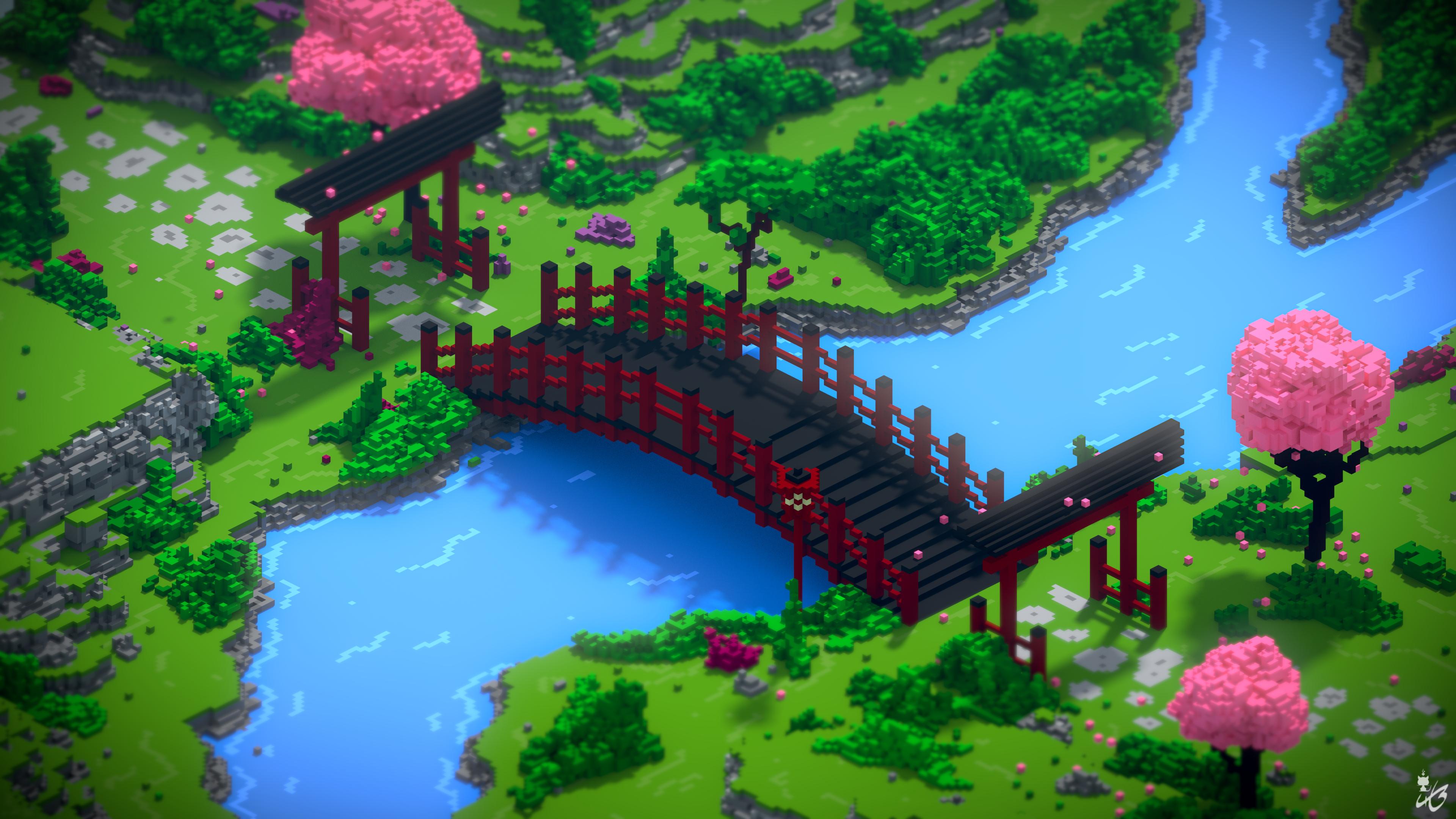 Japanese voxel garden - BlenderNation