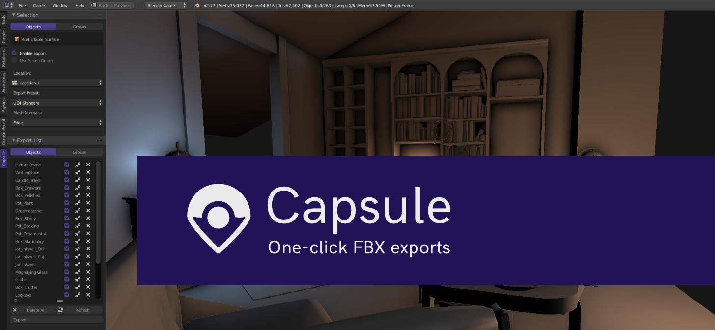 Add-on: Capsule - One-Click, Batch FBX Exports - BlenderNation