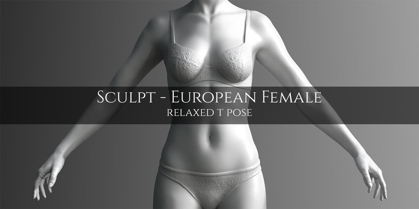 Blender Market] European Female Anatomy Sculpt Model - BlenderNation