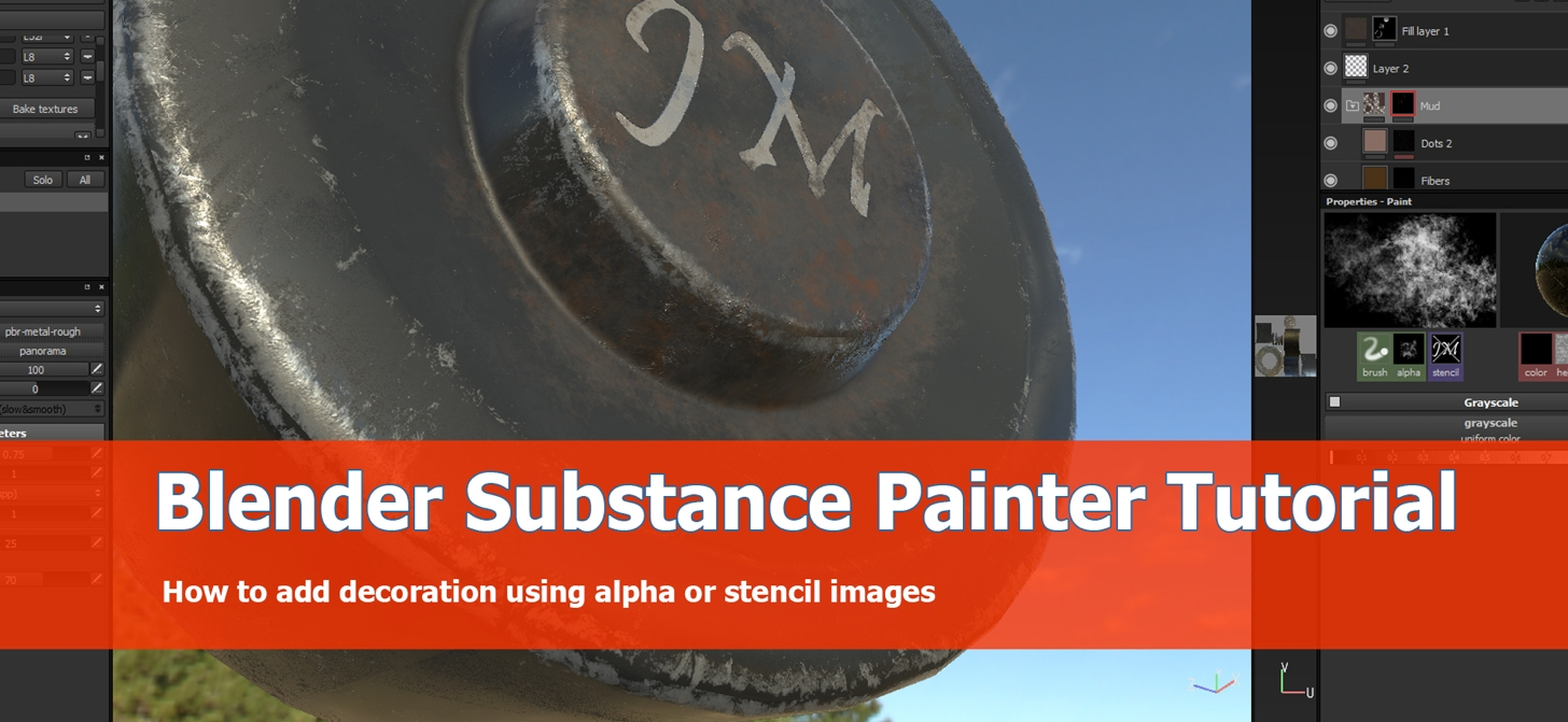 Use alpha and stencil for Blender hardsurface models with Substance Painter