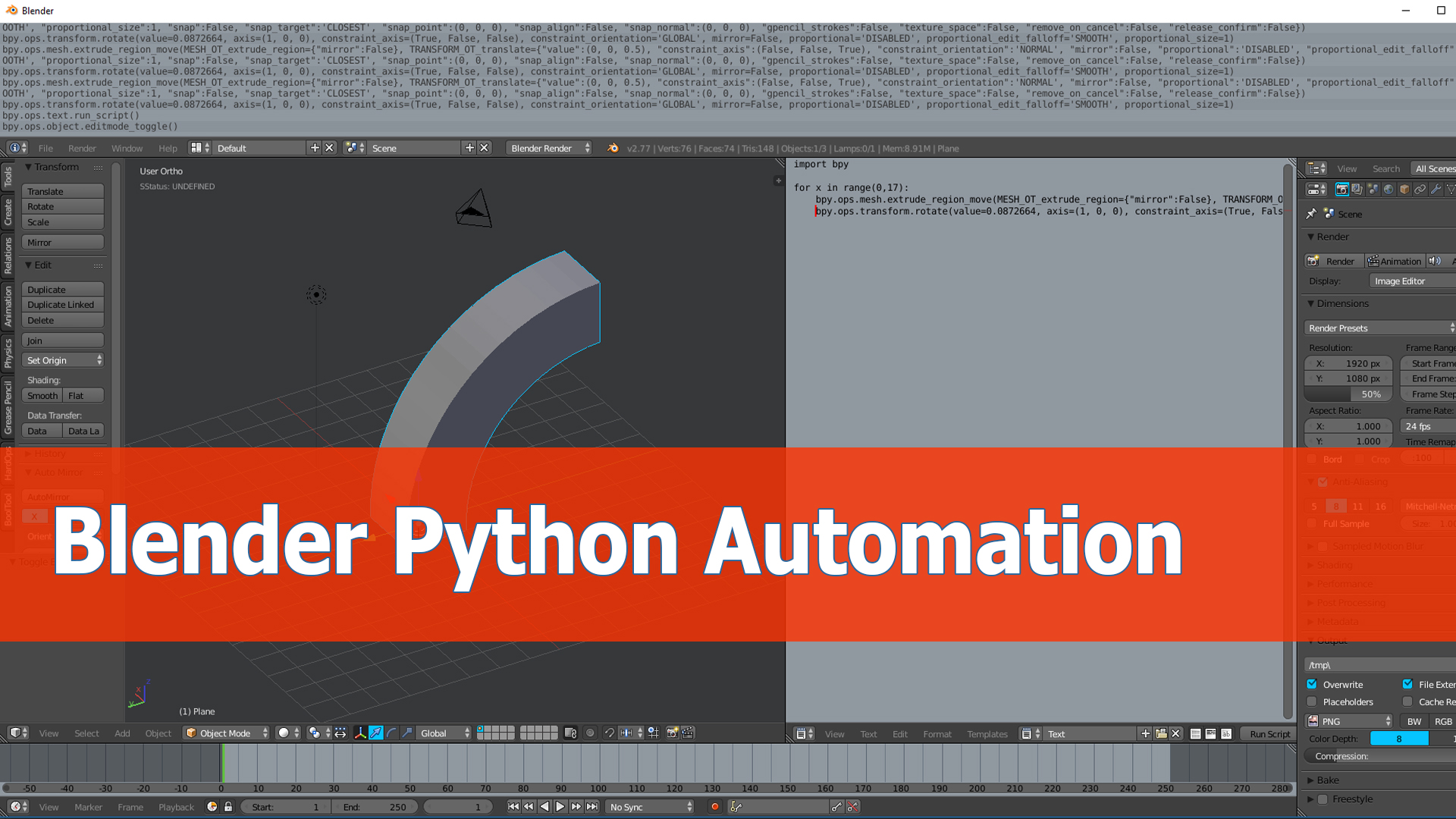 Blender Python tutorial: Automation of operations