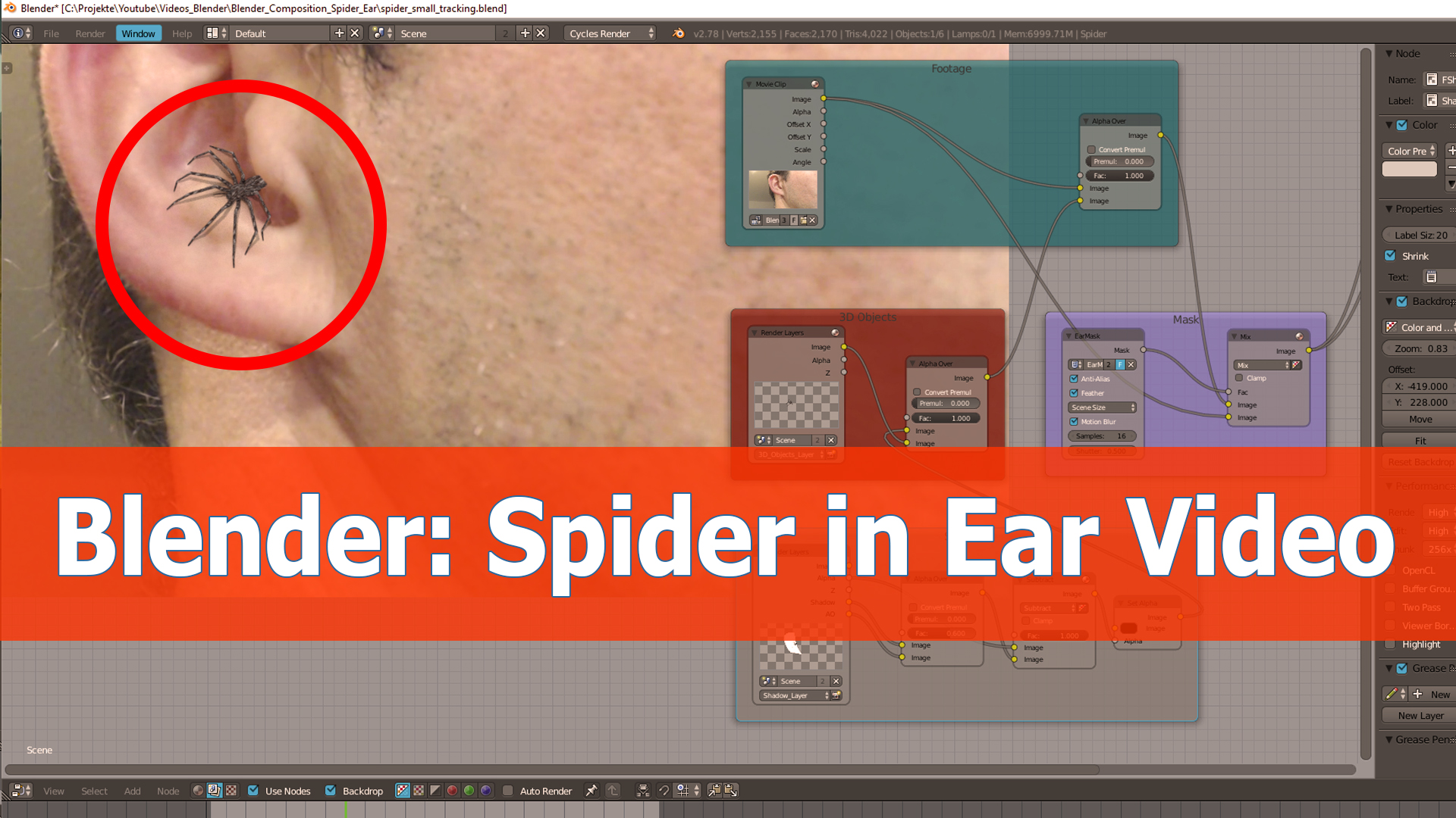Blender compositing video: Spider inside the ear - BlenderNation