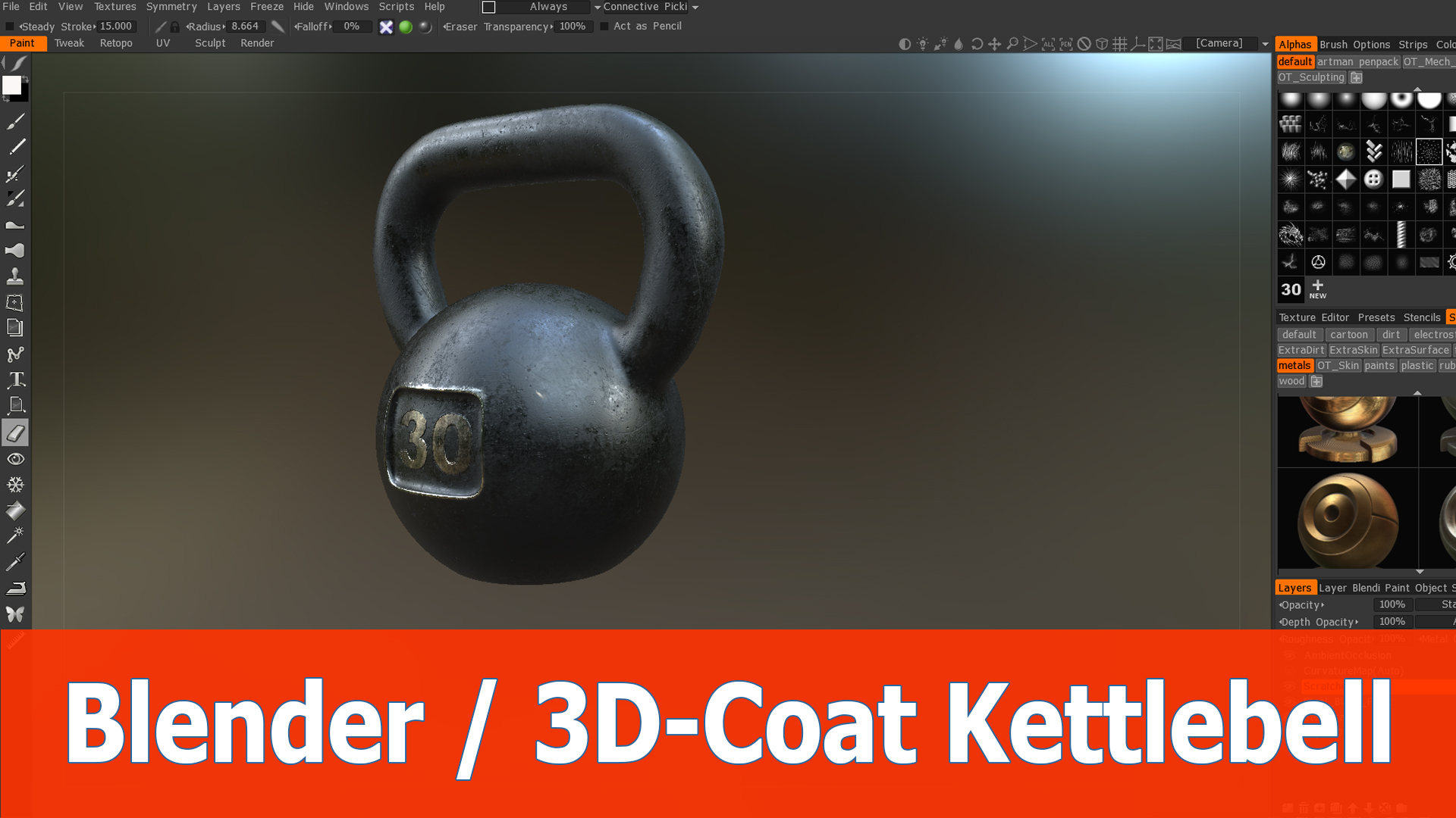 Blender and 3D Coat Create and texture kettlebell BlenderNation