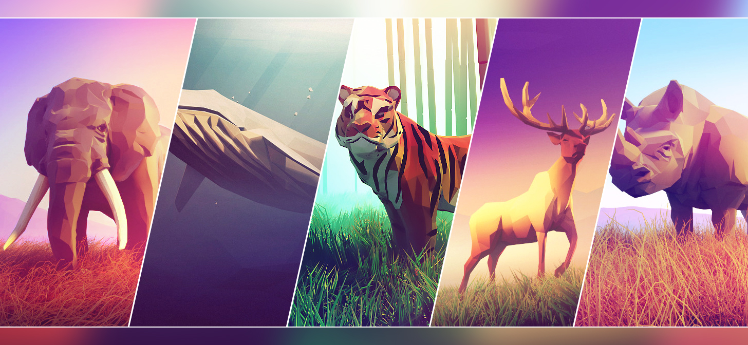 Image of: Hand Painted Animals Low Poly Art Itchio Animals Low Poly Art Blendernation