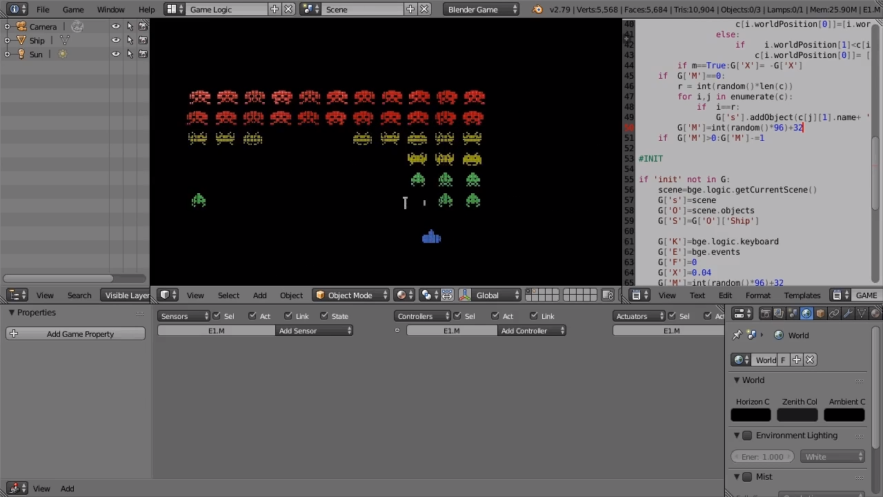 Creating Space Invaders in the Blender Game Engine