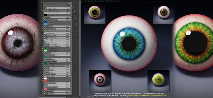 CW Eye – A Procedural Eye Material for Blender