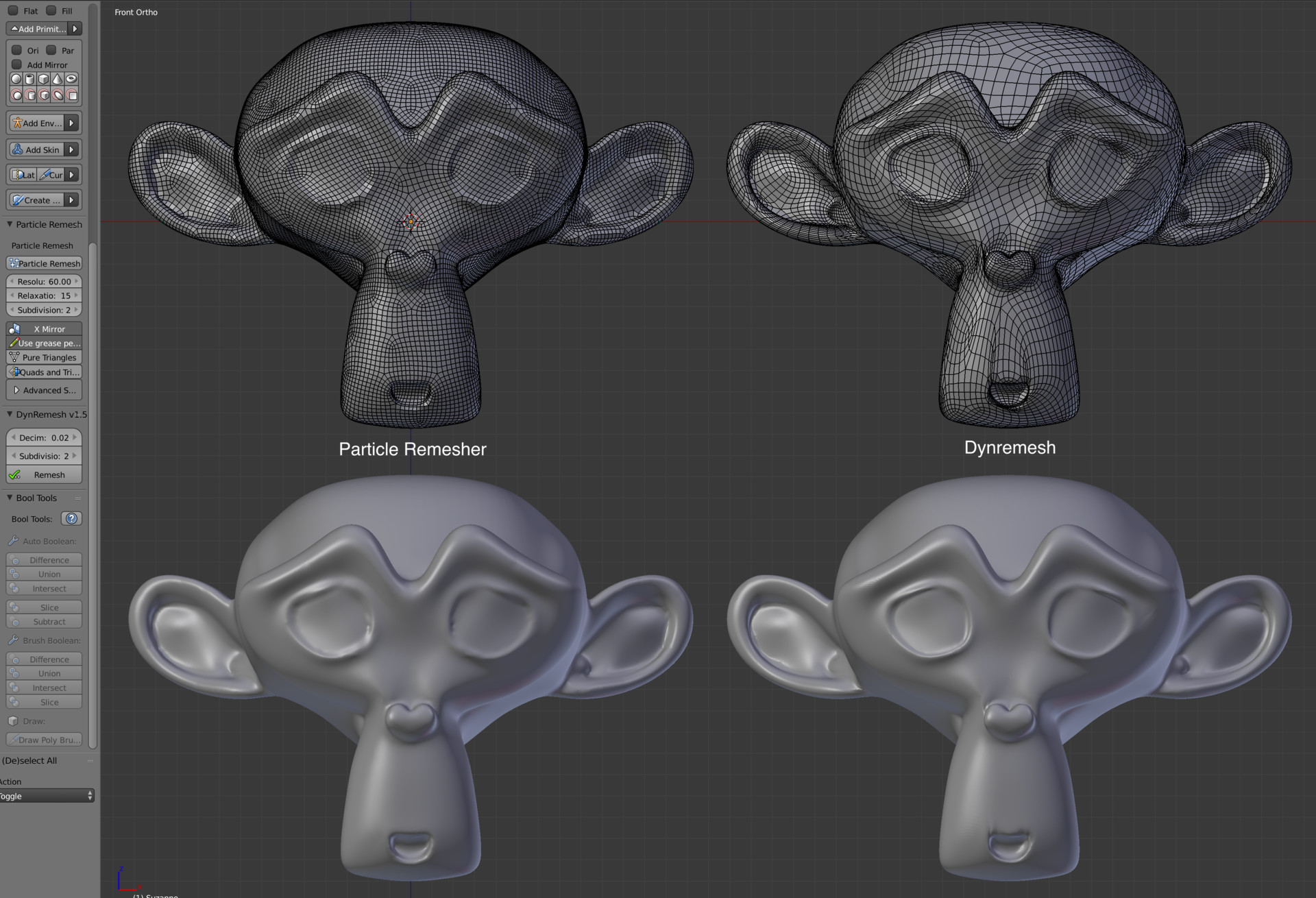 Short review of two Blender auto-retopology add-ons