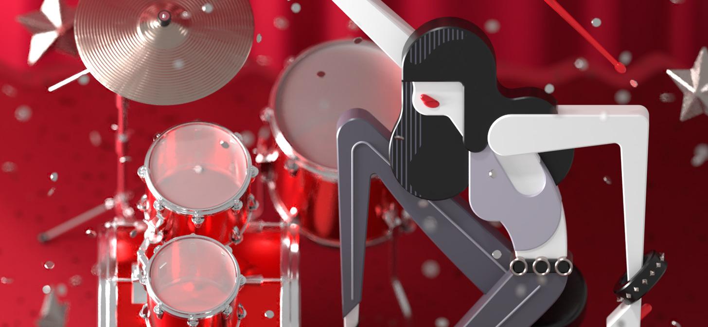 Behind the Scenes: 2.5D Geometric Punk Drummer