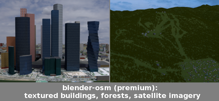 Blender-OSM: textured buildings, forests, satellite imagery