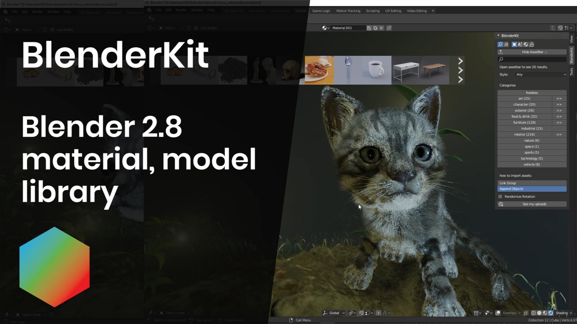 BlenderKit now in Blender 2.8 builds