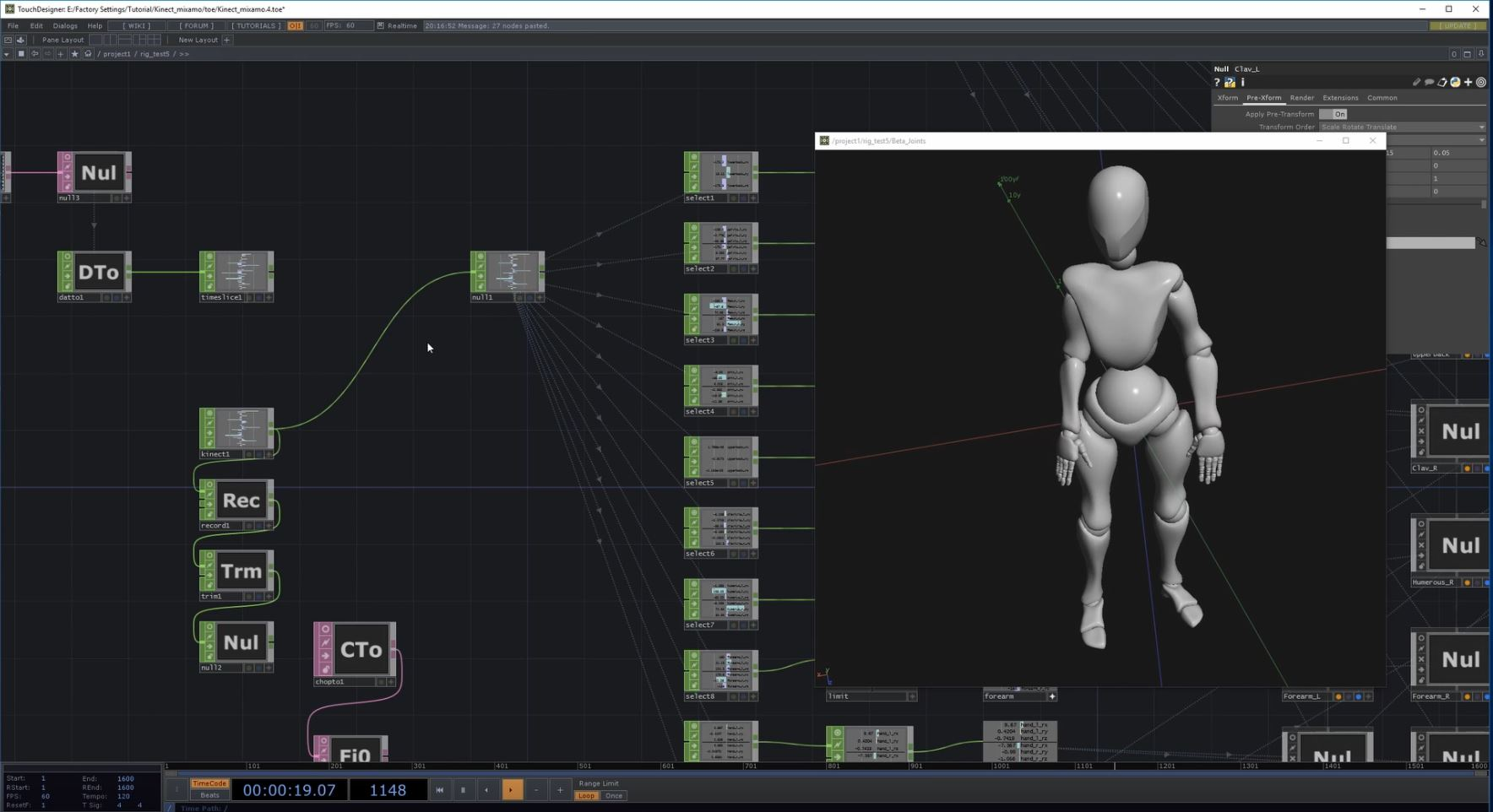 Control a blender rigged mixamo character with a Kinect camera