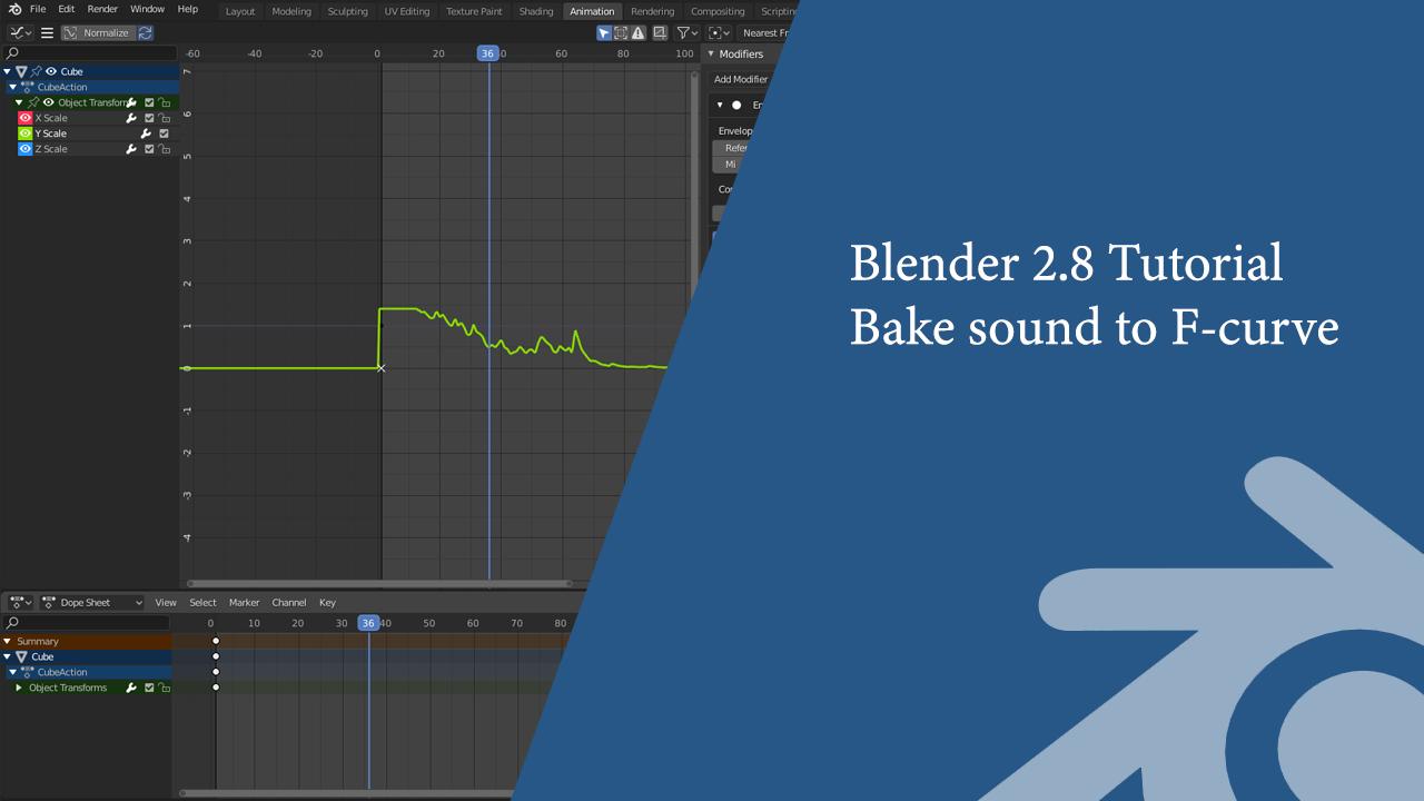 Blender 2.8 Tutorial: Bake sound to F-curve & F-curve modifier