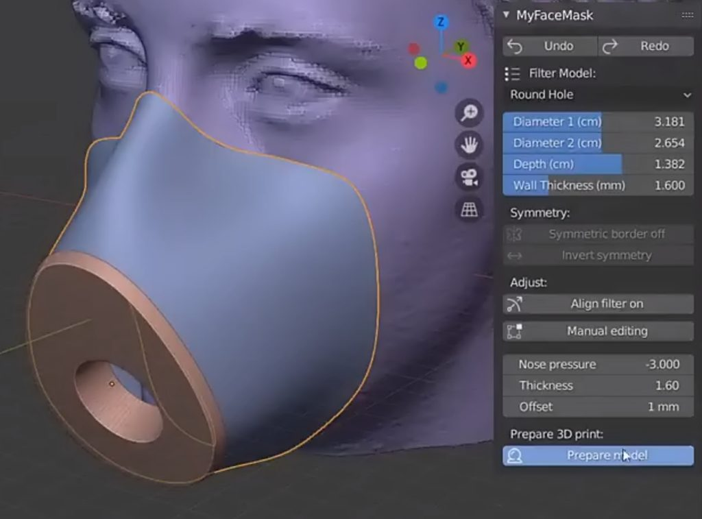 Click Prepare Model to prepare the face mask for 3D printing