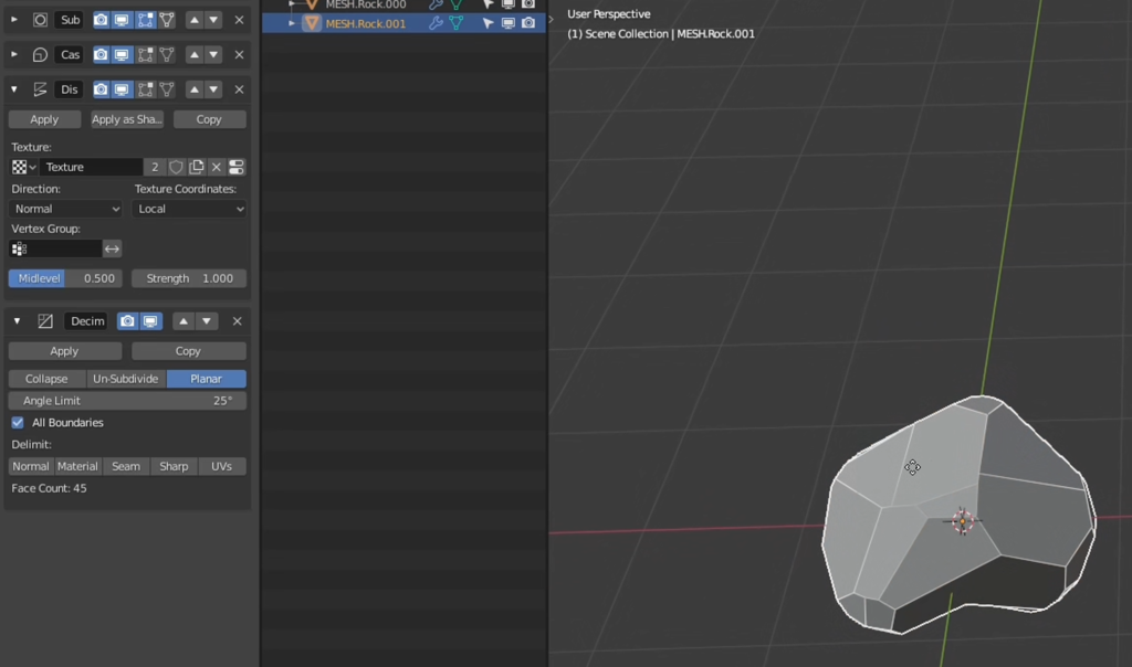 Create easy planar rocks and low-polygon shapes using the Planar mode of the Decimate modifier