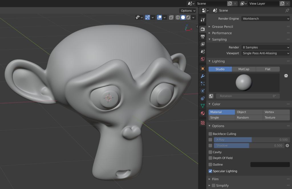 Blender's Workbench is the default viewport renderer