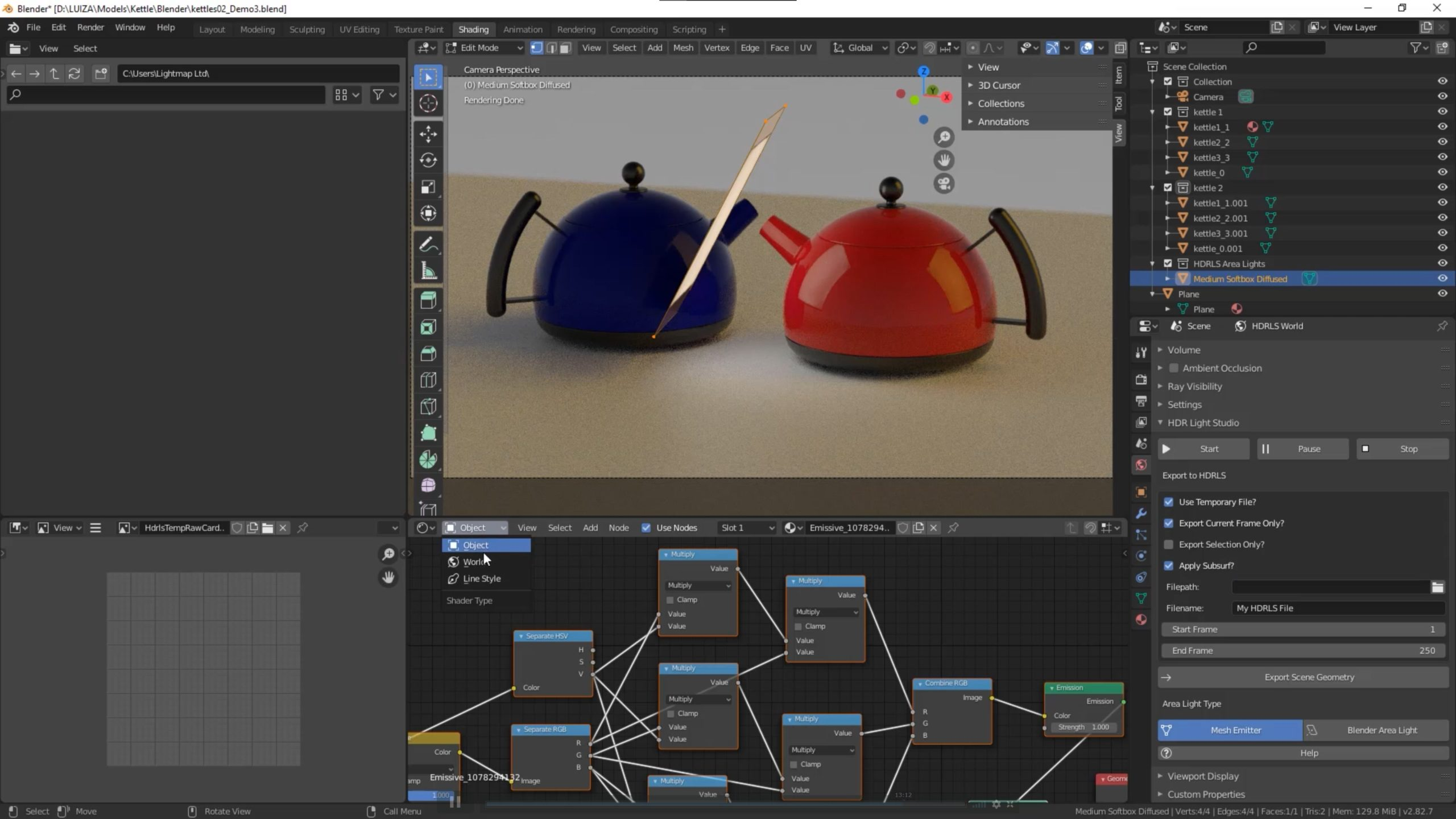 Blender mesh emitter lights and textured Area lights can be created and controlled from within HDR Light Studio
