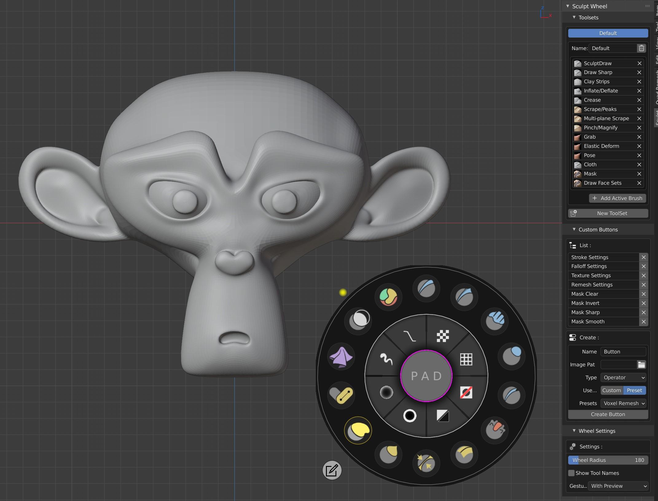 Sculpt Wheel upgrades the Blender Sculpt Mode UI and UX